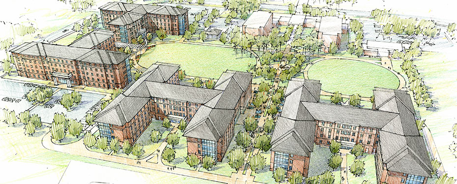 University of North Carolina at Wilmington Housing Village aerial sketch