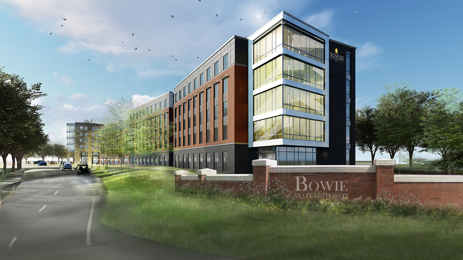 Bowie State University learning residence hall exterior rendering